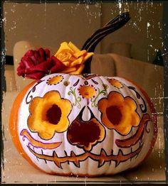 Sugar skull pumpkin
