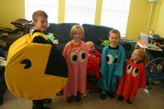 Pac Man and ghosts costumes