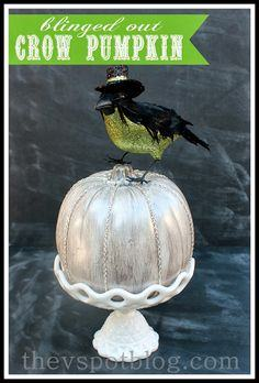 A blinged out Crow Pumpkin