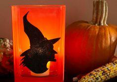 Witch Silhouette Glass Votive