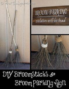 Witch Brooms and Halloween Signs