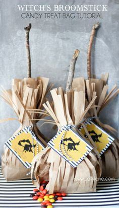 Witch broomstick candy treat bag